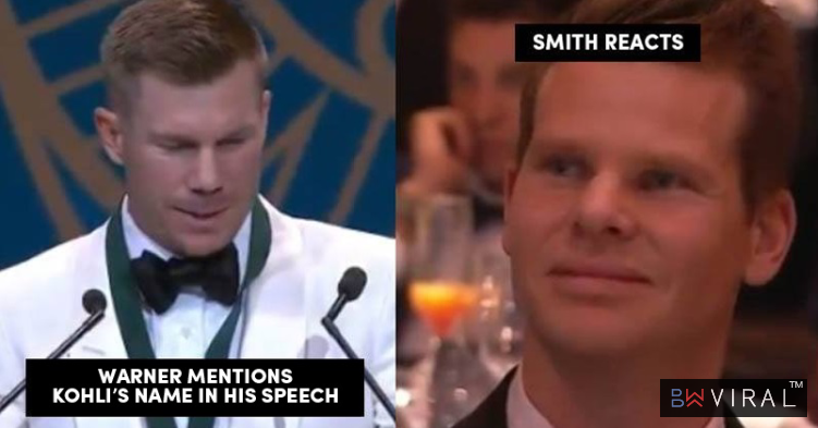 Warner Takes Kohli's Name In Allan Border Medal Speech, Steve Smith's Reaction Is Worth Watching