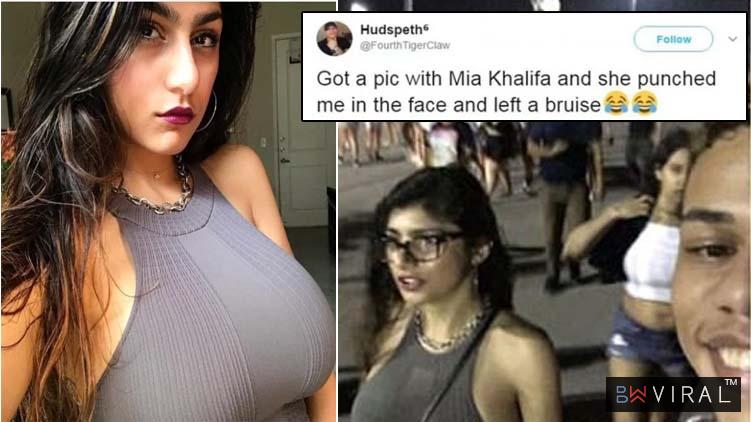 Mia khalifa and fan